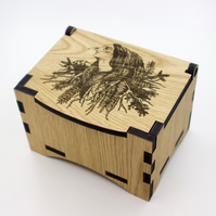 Oak Box with hinged lid for jewellery keepsakes and memory box Goddess Design