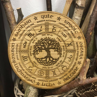 Wheel of the Year in Oak, Pagan, Wiccan, Tree of life 250mm Round
