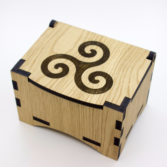 Oak Box with hinged lid for jewellery keepsakes and memory box Triskele Design