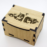 Oak Box with hinged lid for jewellery keepsakes and memory box Deer Design