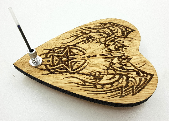 Automatic Writing Planchette with Tribal Pentacle design and 360deg Wheels