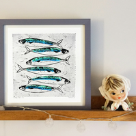 'Supper' Mackerel Fish linocut print square limited edition