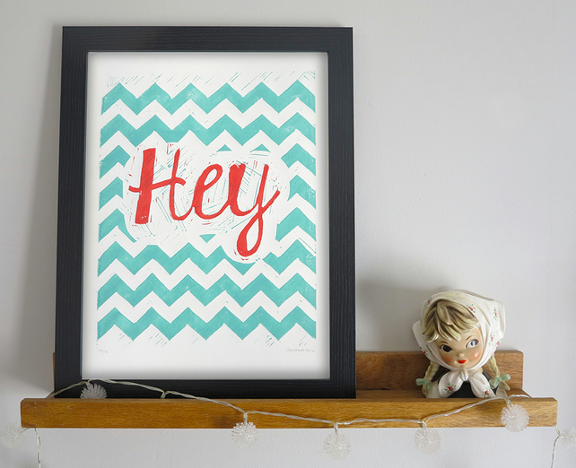'Hey' A4 linocut print Limited Edition
