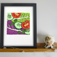 'Crunch' Salad A3 linocut print Limited Edition