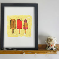 'Lick Yellow' A3 linocut print Limited Edition