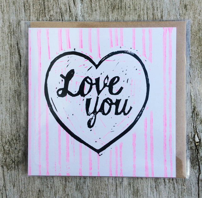 'Love You' Pink stripe handprinted linocut card, Love, Anniversary, Valentine's