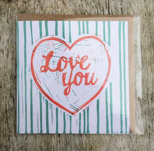 'Love You' Heart stripe handprinted linocut card, Love, Anniversary, Valentine's