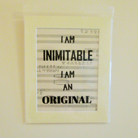 Hamilton Lyric Print - I am inimitable, I am an original - Wait For It lyrics