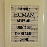 Lyric Print - 'Human', Rag'n'Bone Man