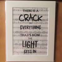 Leonard Cohen Lyric Print - There is a crack in everything, song lyric print