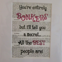 Bonkers Book Print - Alice in Wonderland Quote