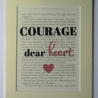 Narnia Book Print - CS Lewis quote - Courage, dear heart