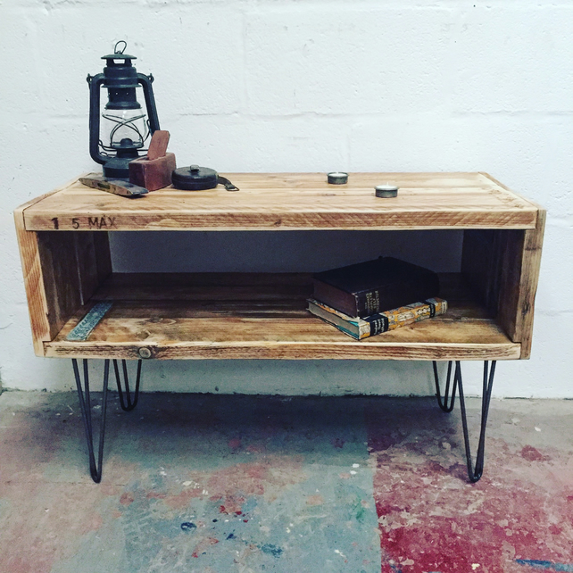 reclaimed scaffold board tv console with hairpin legs