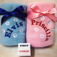 Personalised New Puppy Dog or Cat Blanket.  Embroidered with Your Pets Name