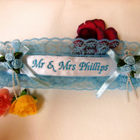 Bridal Wedding Garter Personalised for you. Something Blue with a Lucky Sixpence