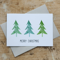 Green Christmas Tree Cards - Pack of 12 in a Box - Blank Inside