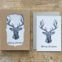 Pack of 12 Stag Christmas Cards - Monochrome Reindeer - Blank Inside