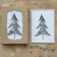 Monochrome Christmas Tree Cards - Pack of 12 in a Box - Blank Inside