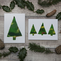 Green Felt Christmas Tree Cards - Pack of 12 in a Box - Blank Inside