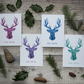 Pack of 12 Stag Christmas Cards - Pink, Purple, Blue & Turquoise Reindeer