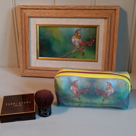 Make up bag using images from song thrush, bird oil painting. Accessory bag