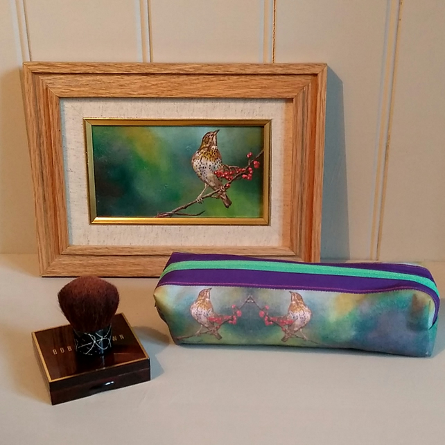 Make up case, pencil case taken from bird oil painting.  Cosmetic bag
