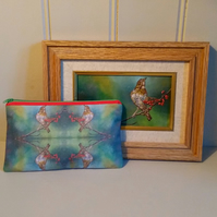 Make up bag, pencil case using images from my oil paintings. Cosmetic bag.