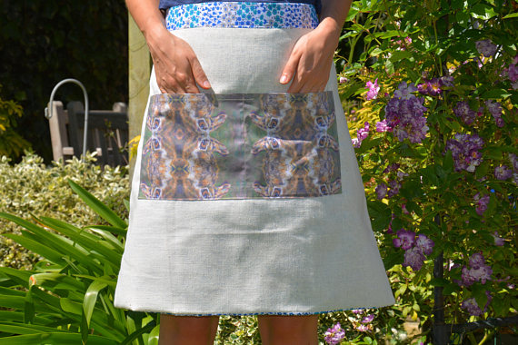 Apron - pinifore. Cotton and Linen, Hare Print, Handmade and reversible. Floral