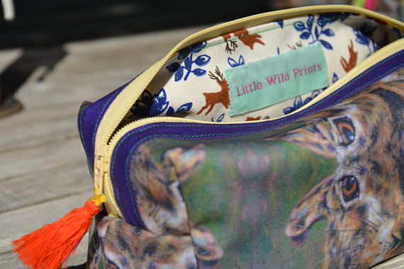 Large Make up bag, toiletry bag. Box shaped, hare print. Neon. Handmade, lined