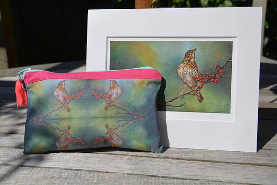 Pencil case, make up bag. Bird print, Neon, handmade and lined