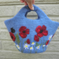 poppies and daisies felted floral bag, felt storage bucket with poppy design