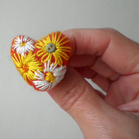 felted and embroidered heart brooch, orange flower brooch,