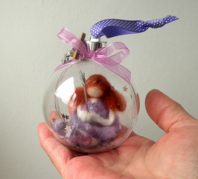 felted fairy bauble, lilac felt fairy christening, birthday, christmas keepsake
