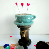 felt teacup pin cushion, bobbin pin cushion, teacup sewing accessory