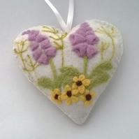 felted flower heart with lavender felt foxglove and flower hanging heart cream