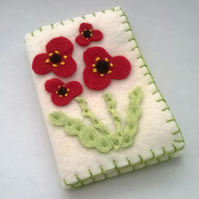 felt needle case with poppies, cream needle or pin case with floral design