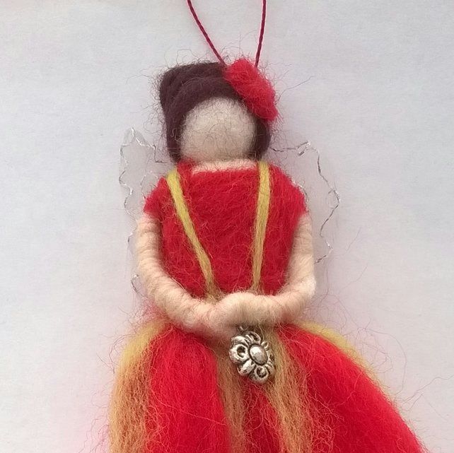 red fairy, red needle felted fairy, hanging felted fairy, christmas fairy