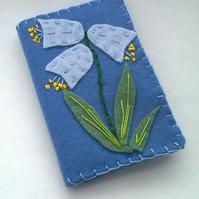 felt blue sewing needle case with bluebells, floral needle book with felt