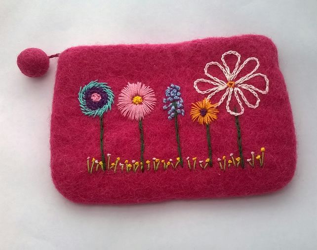 felt pink embroidered purse, flower compact make up bag