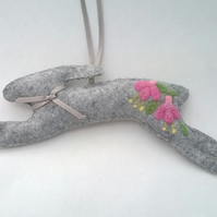 felted hare, lavender filled hare, hare with felted fuschias,