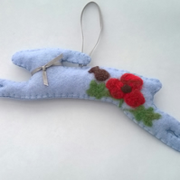 felt lavender filled hare with poppy decoration, needle felted poppy