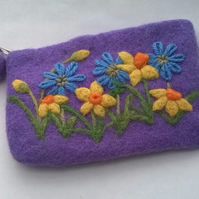 felted and embroidered daffodil coin purse, lilac floral compact make up bag