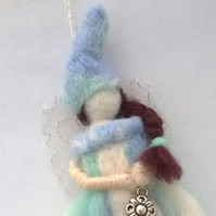 felt fairy, needle felted fairy, winter felted fairy decoration,