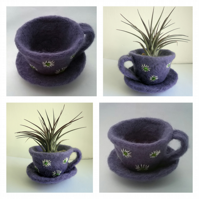 felted and embroidered teacup, felt air plant pot with daisies purple teacup