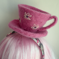 felted teacup alice band. pink teaparty hair accessory, daisy teacup fascinator