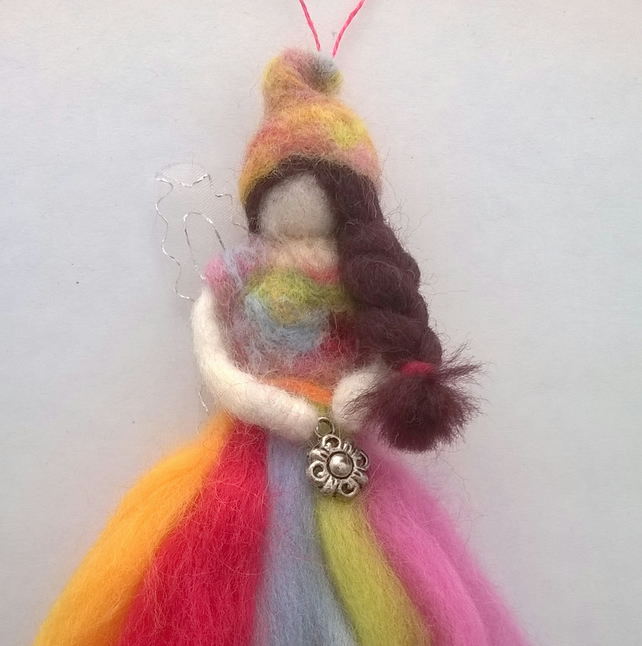 felted fairy, rainbow felt fairy, handmade fairy hanging decoration