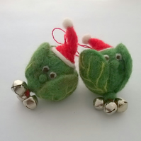felted brussels with bells on, felt hanging sprout xmas decoration, christmas