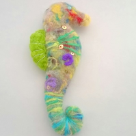 felted seahorse hanging decoration, sea creature, felt seahorse xmas decoration