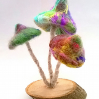 magic mushrooms, felted magical mushrooms, needle felted  3D art sculpture