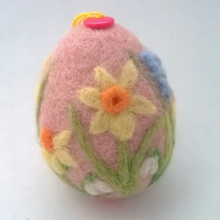 felt easter egg embroidered and felted egg decoration wool daffodil accessory